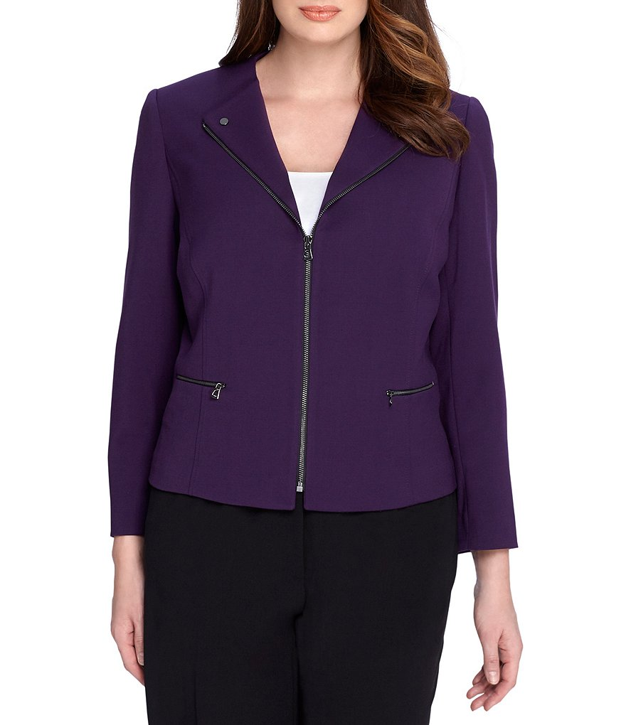Tahari ASL Plus Ponte Front-Zip Jacket