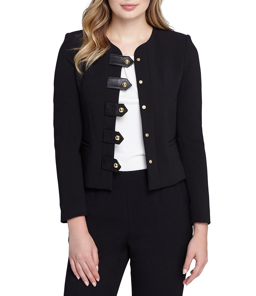 Tahari ASL Faux Leather and Hardware Button Ponte Jacket