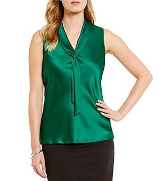 Tahari ASL Sailor Tie-Neck Sleeveless Top