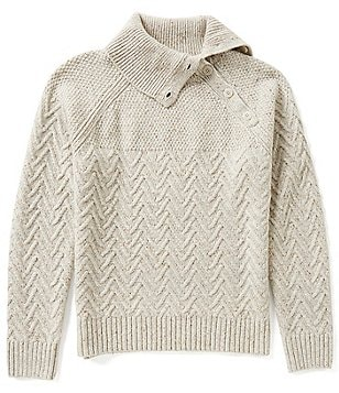 Nautica Mixed Knit Buttoned Turtleneck Sweater