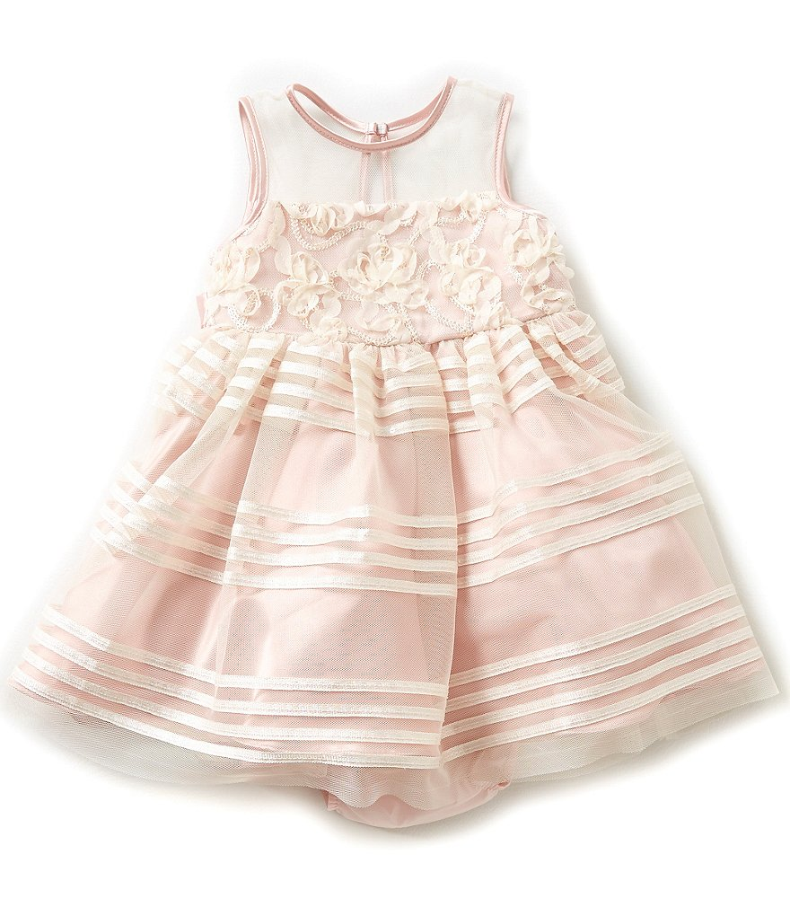 Rare Editions Baby Girls 12-24 Months Lace-Detailed Shadow Striped Dress