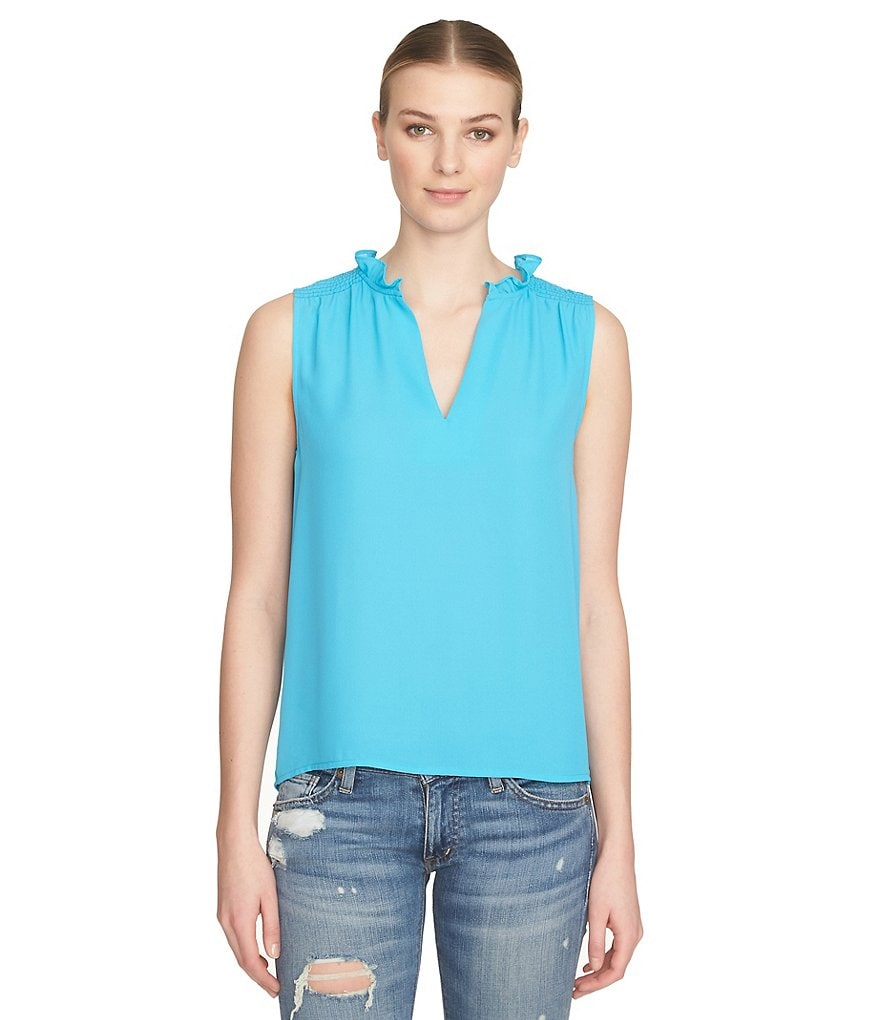 1. STATE Ruffle Split Neck Sleeveless Blouse