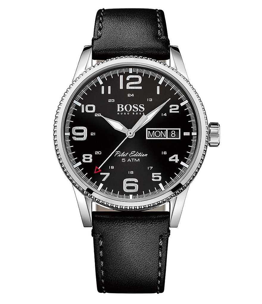 BOSS Pilot Leather Strap Stainless Steel Chronograph Watch