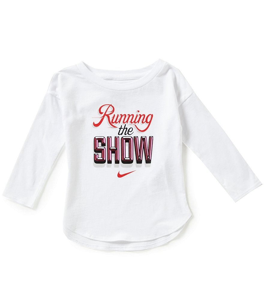 Nike Baby Girls 12-24 Months Running The Show Modern Long-Sleeve Graphic Tee