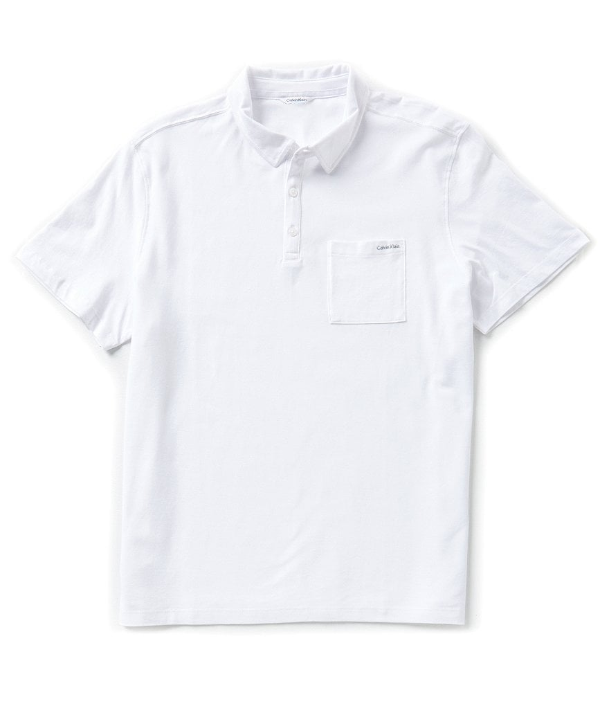 Calvin Klein Short-Sleeve Liquid Cotton Textured Polo Shirt