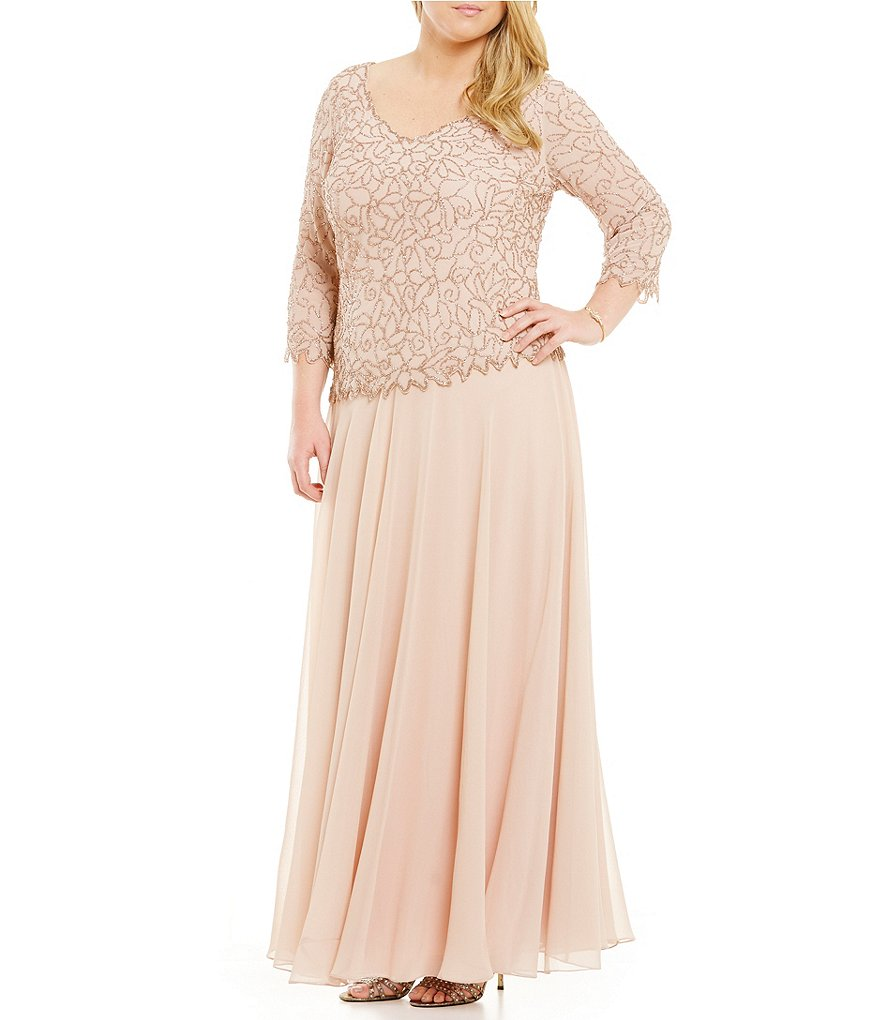 Jkara Plus 3/4 Sleeve Beaded Gown