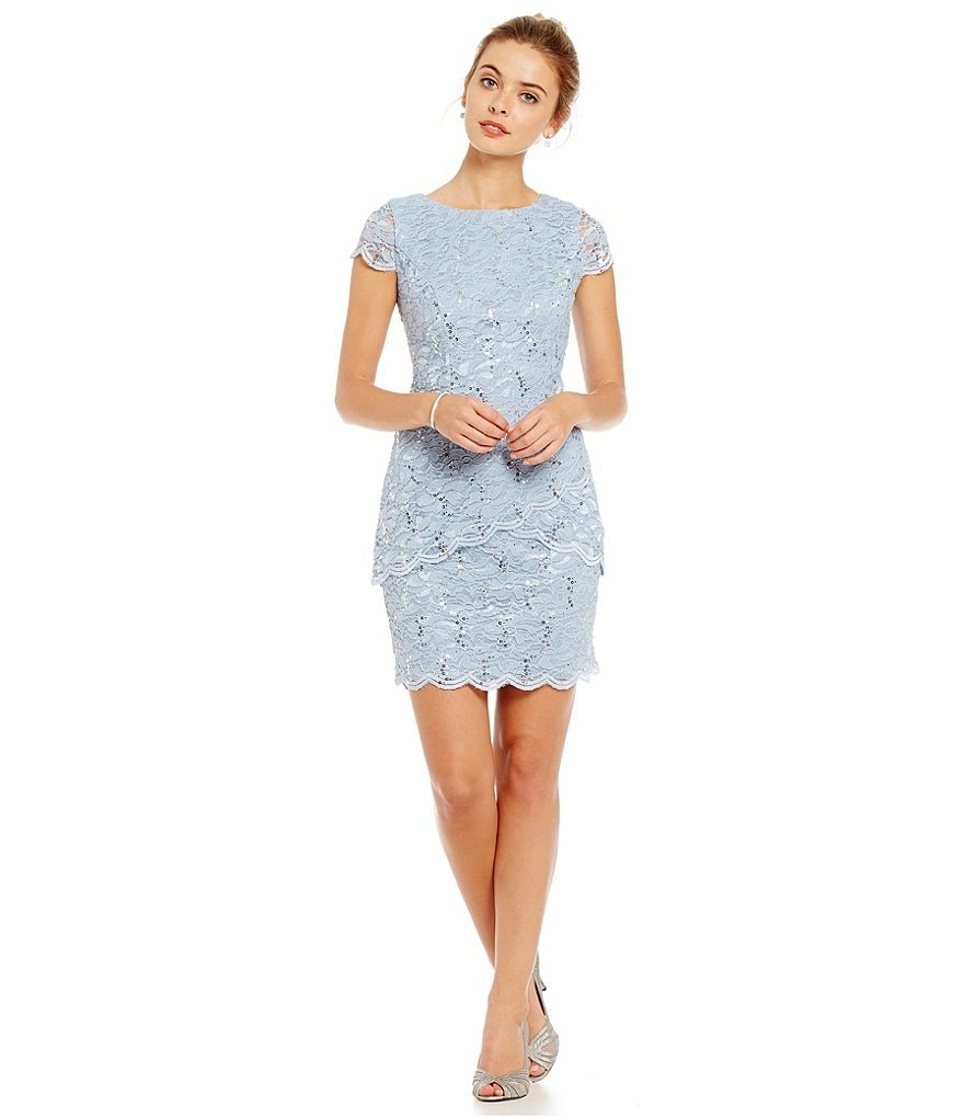 Alex Evenings Petite Scalloped Tulip Tiered Lace Sheath Dress