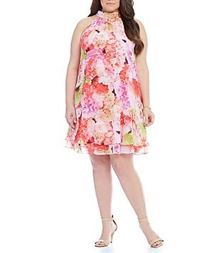 Eliza J Plus Floral-Print Trapeze Shift Dress