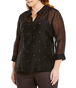 ZOZO Plus Point Collar Long Sleeve Soiree Top