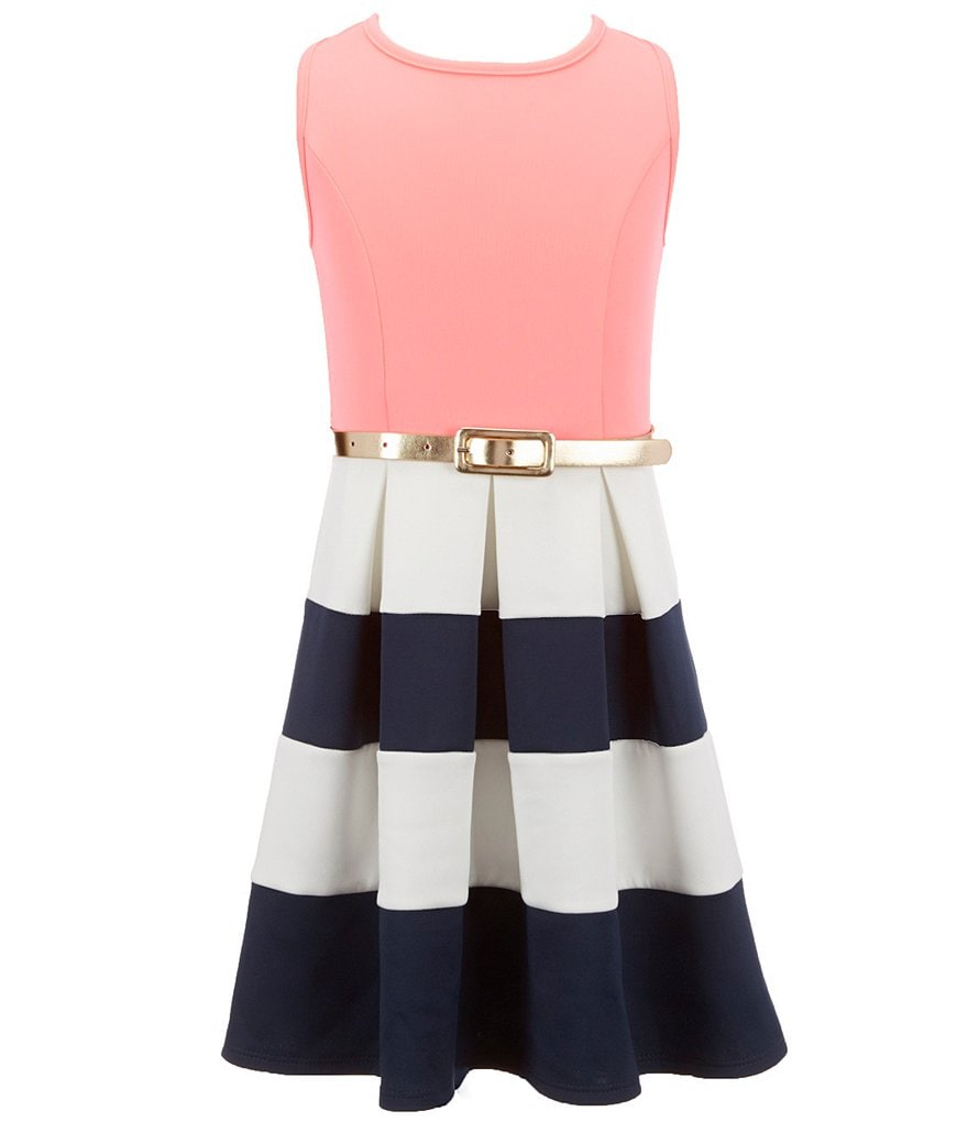 Honey and Rosie Big Girls 7-16 Colorblock Skater Dress