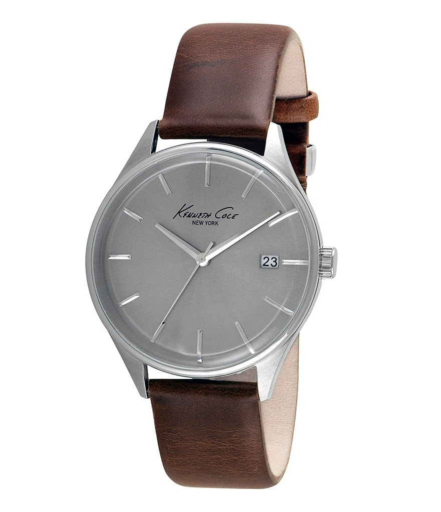 Kenneth Cole New York Stainless Steel Leather Strap Analog 3 Hand and Date Watch