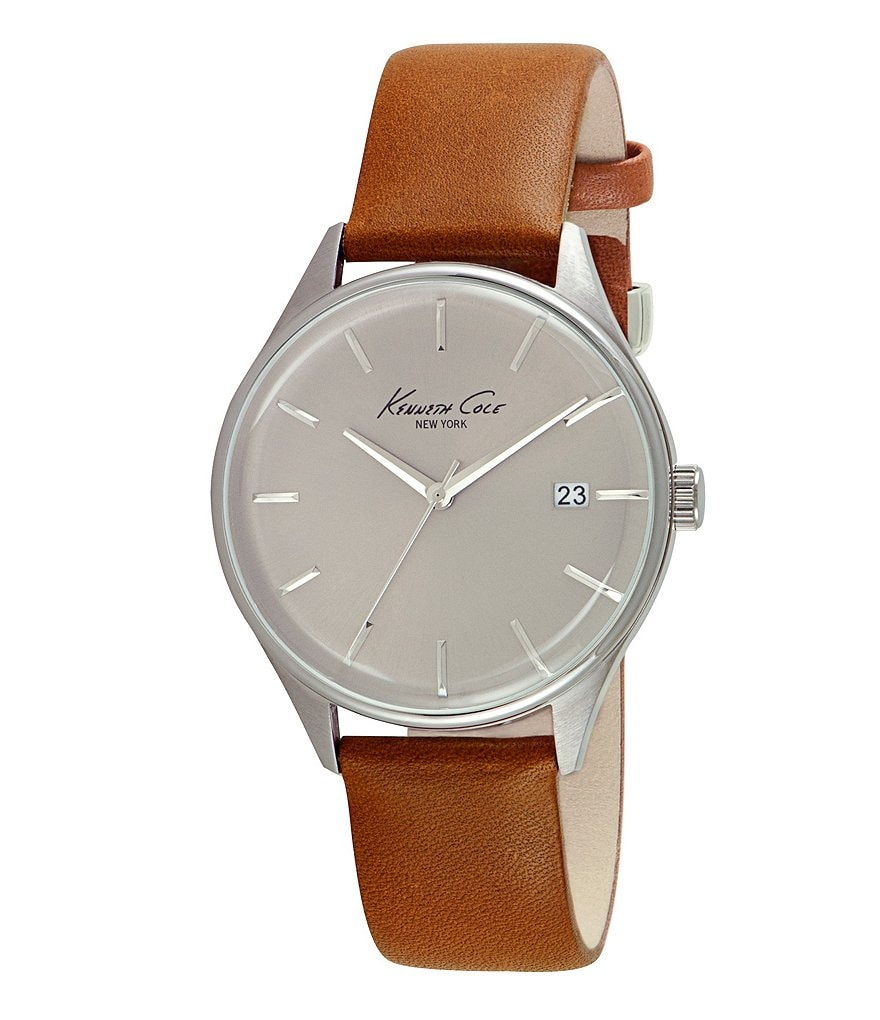 Kenneth Cole New York 3-Hand Leather Strap Watch