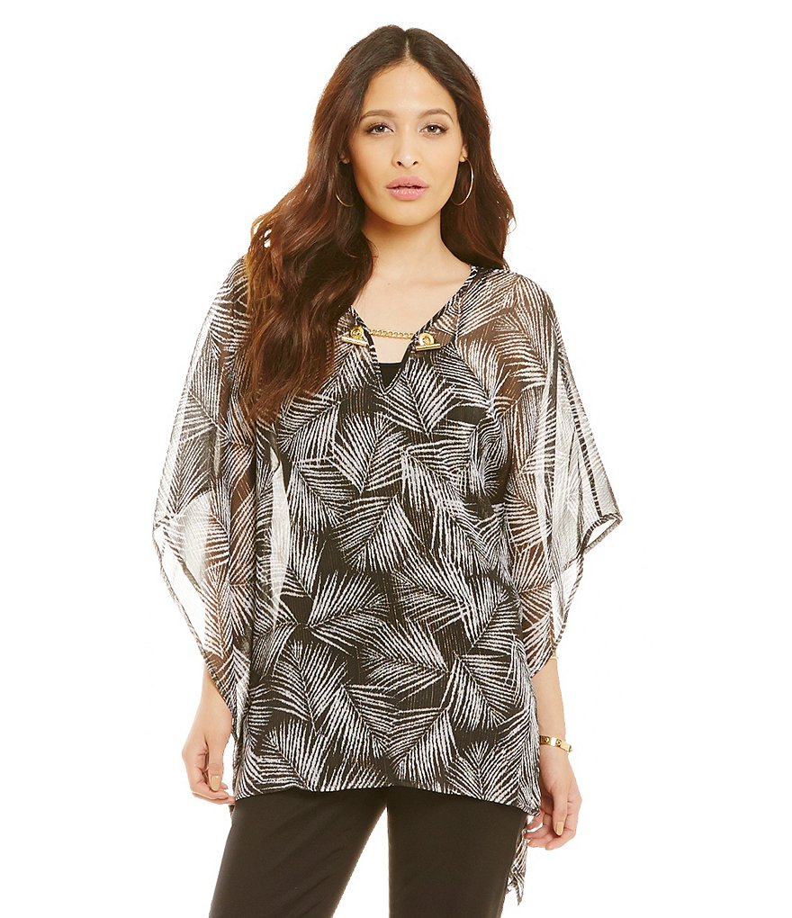 MICHAEL Michael Kors Bar-Neck Leaf-Print Metallic Crinkled Georgette Kimono Flutter Top