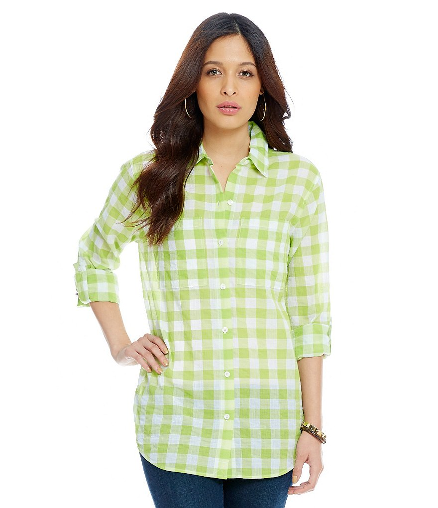 MICHAEL Michael Kors Waterfront Yarn-Dye Plaid Roll Sleeve Shirt
