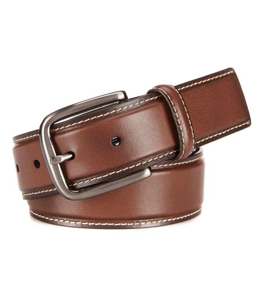 Roundtree & Yorke Contrast-Stitched Leather Belt