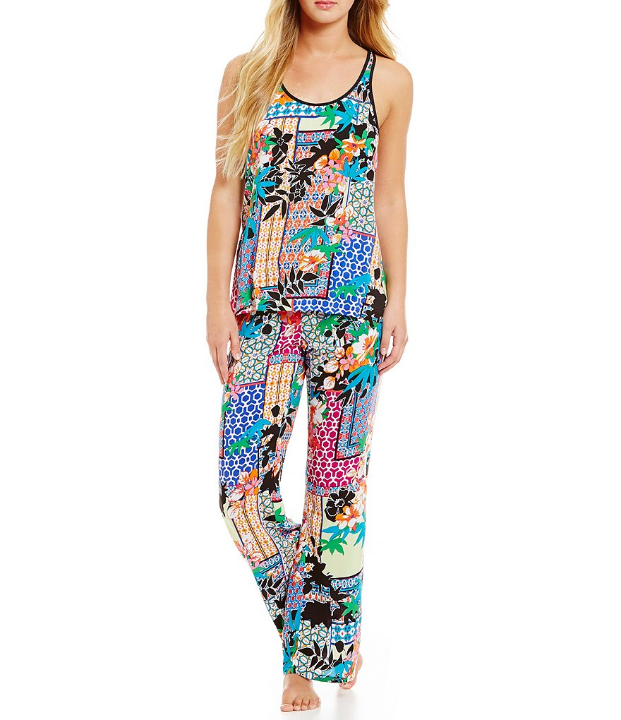 Josie Collage Strappy-Back Challis-Print Pajamas