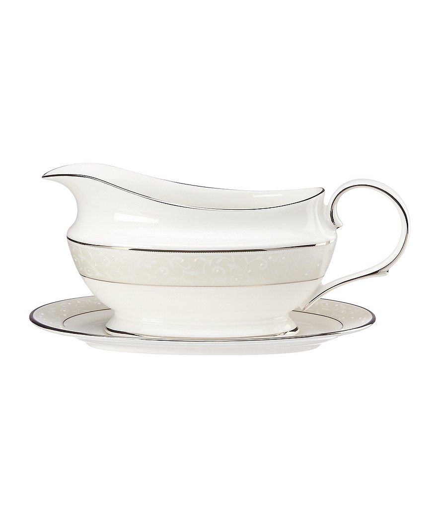 Lenox Opal Innocence Vine & Pearl Platinum Bone China Gravy Boat with Stand