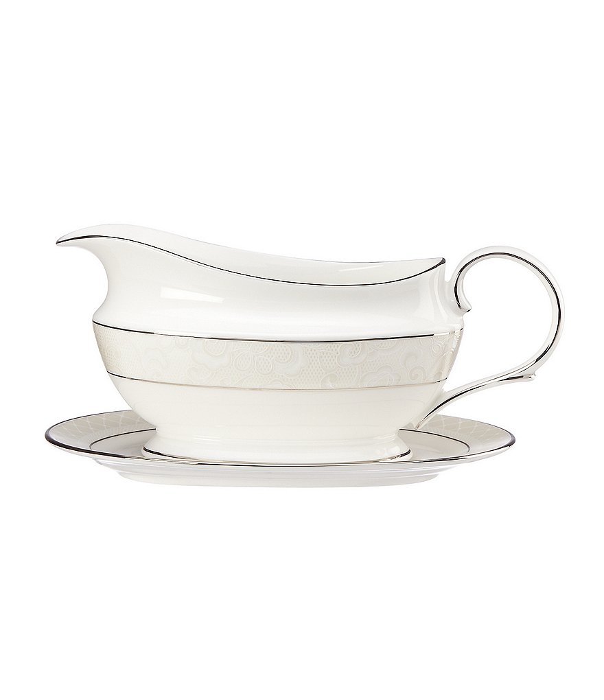 Lenox Venetian Lace Floral Platinum Bone China Gravy Boat with Stand