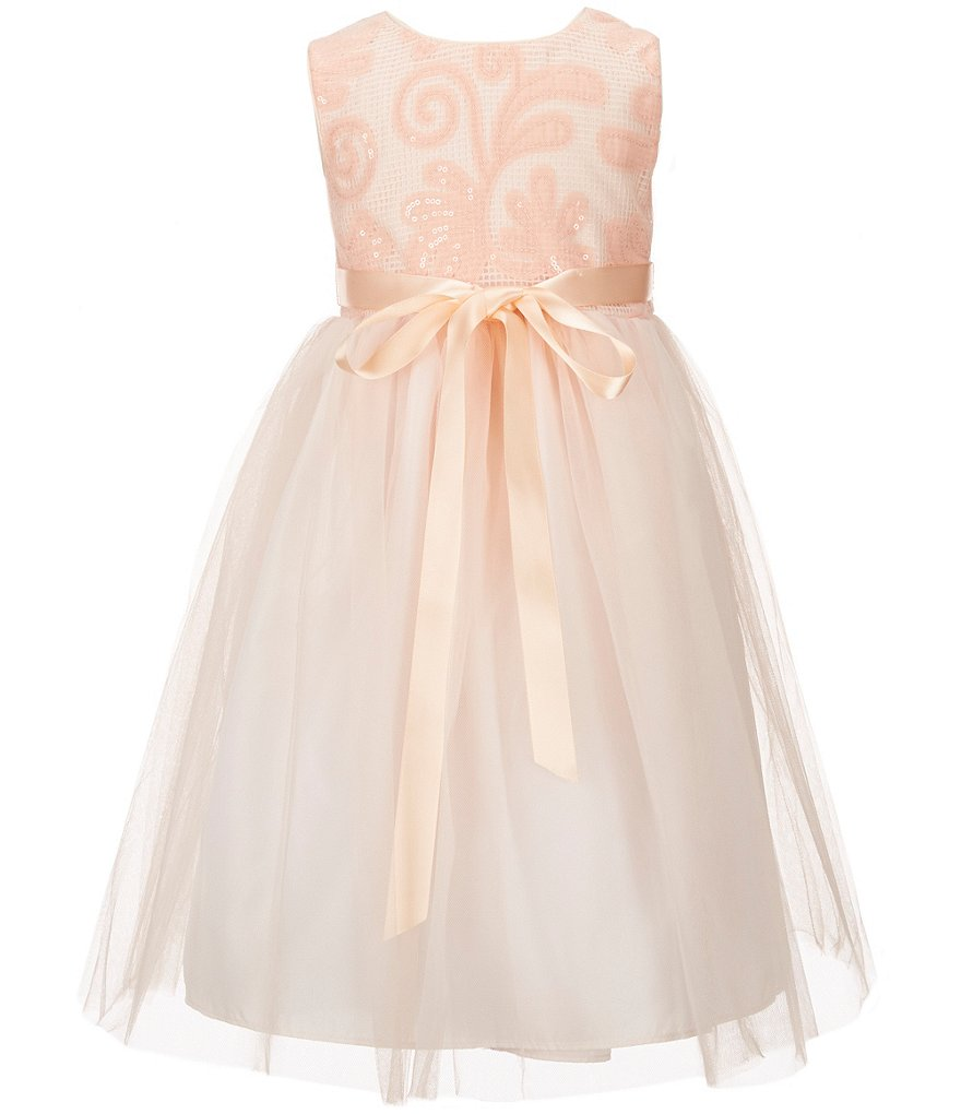 Marmellata Little Girls 2T-6X Sequin-Bodice Tulle-Overlay-Skirted Fit-and-Flare Dress