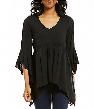 Cupio V-Neck Bell Sleeve Hi-Low Blouse
