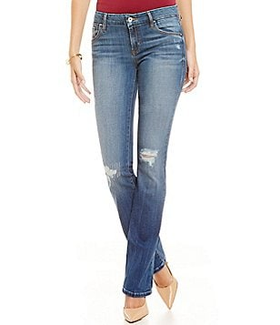 Guess Tailored Mini Bootcut Distressed Jeans