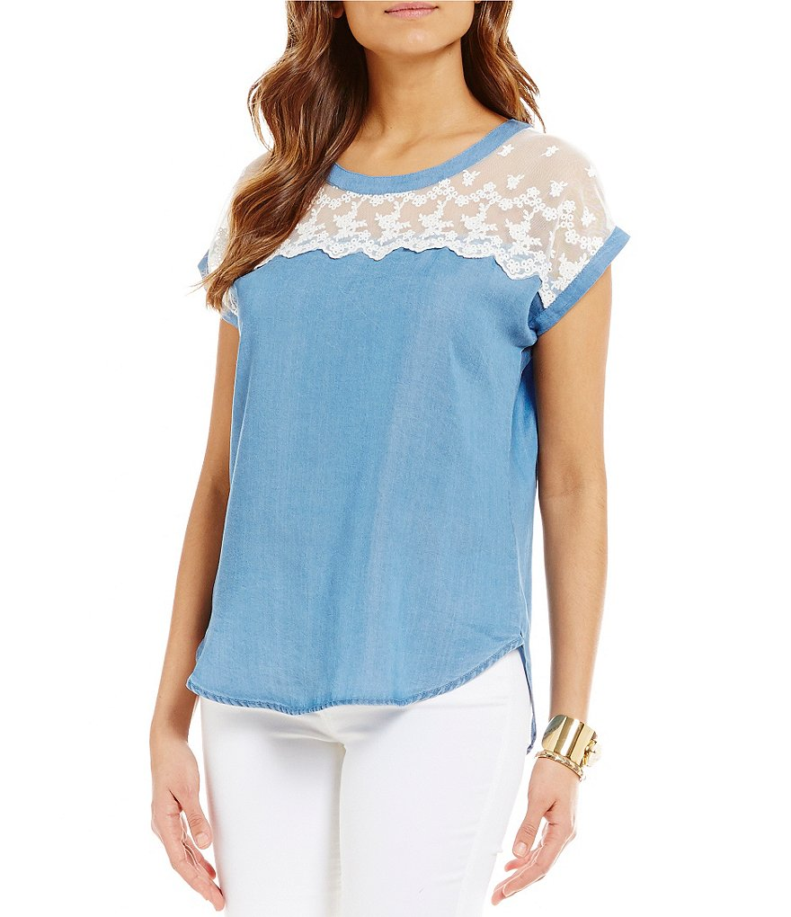 Soulmates Embroidered Mesh Yoke Chambray Top