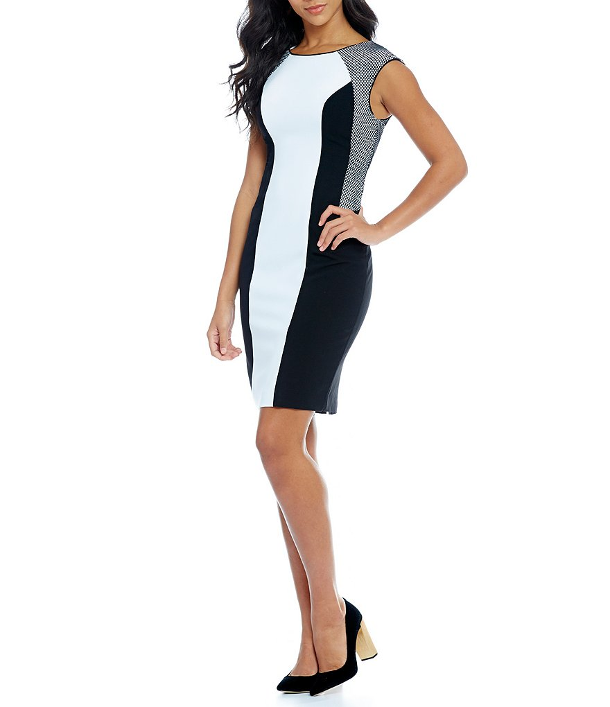Calvin Klein Color Block Mesh Detail Sheath Dress
