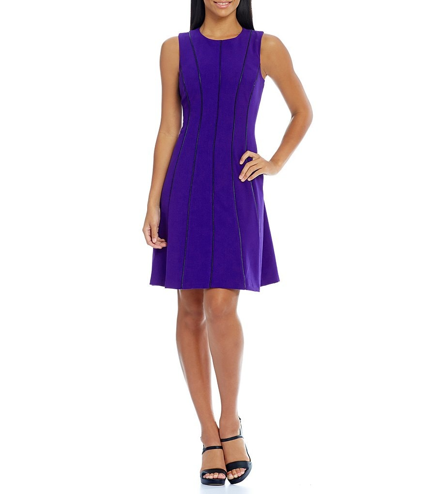 Calvin Klein Seamed Piping Fit-and-Flare Dress