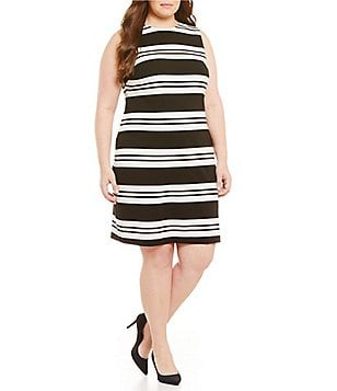Calvin Klein Plus Double Stripe Ponte Sheath Dress