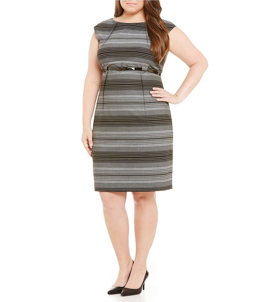 Calvin Klein Plus Belted Striped Cap Sleeve Sheath Dress