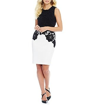 Calvin Klein Petite Drop Waist Lace Overlay Sheath Dress