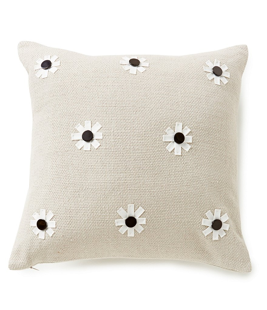 kate spade new york Flower-Appliquéd Square Pillow