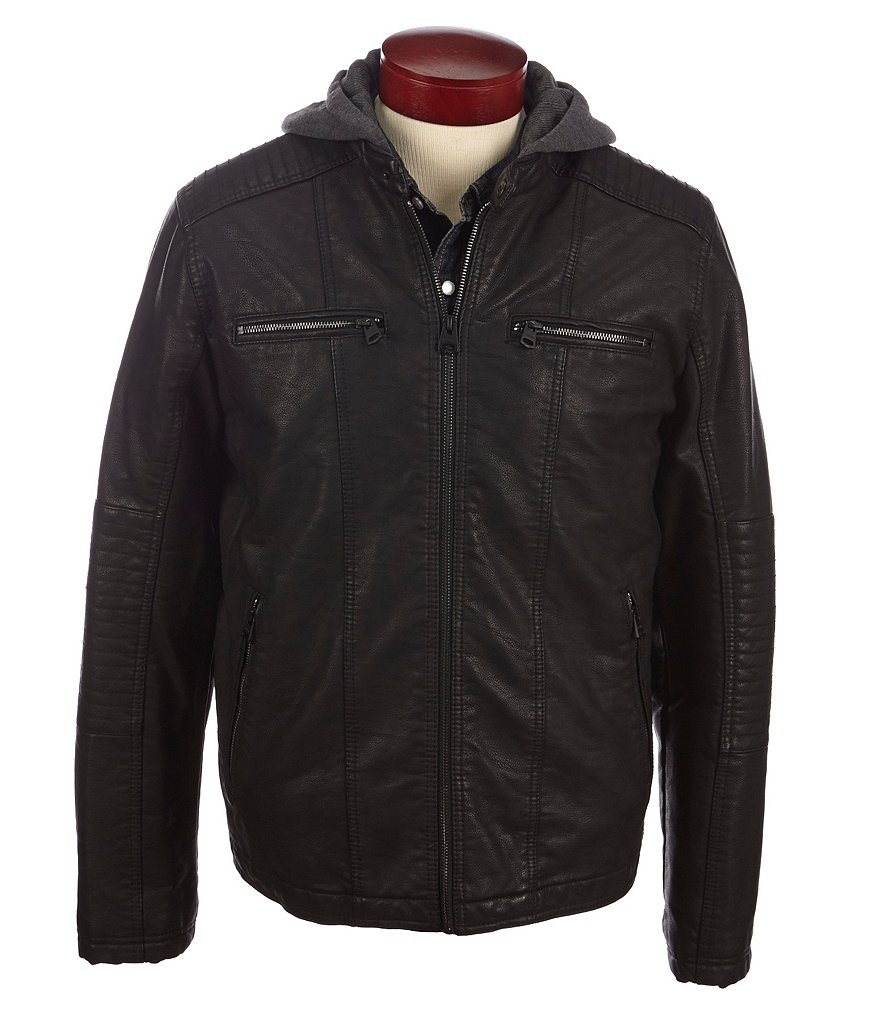 Levi´s Faux Leather Hooded Moto Jacket