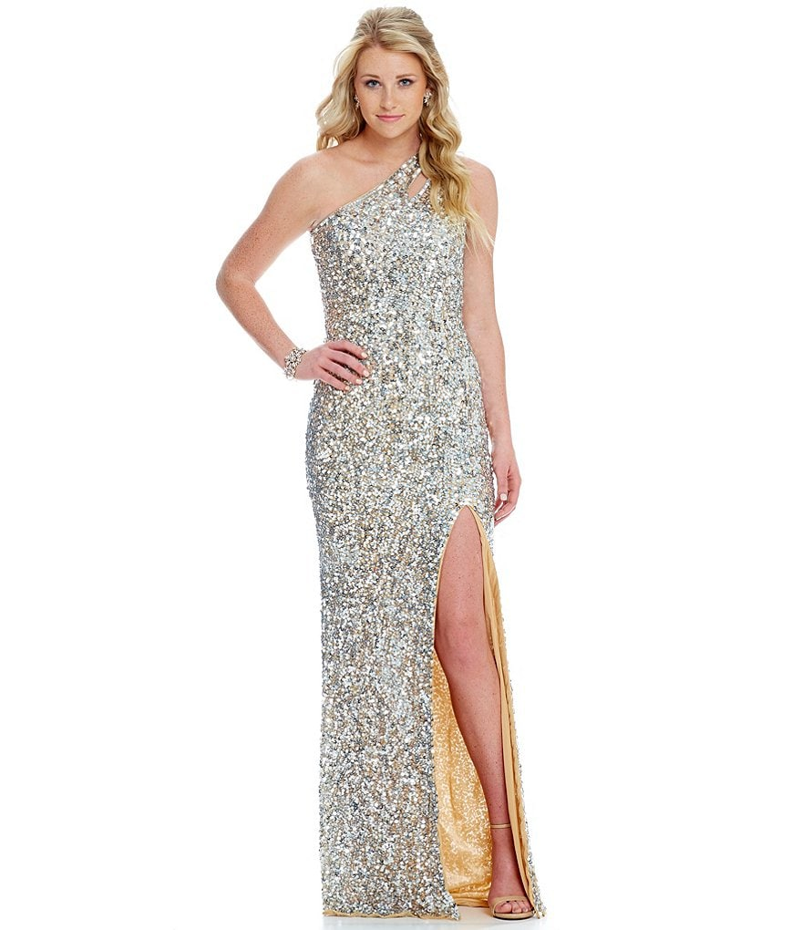 MAC by Mac Duggal One-Shoulder Sequin Long Cut-Out Back Dress