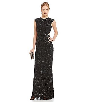 MAC by Mac Duggal Beaded Sequin Pattern Open Back Gown