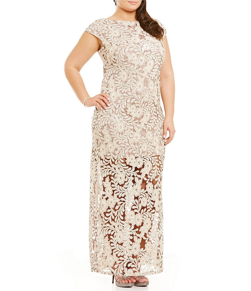 Brianna Plus Sequin Lace Illusion Gown