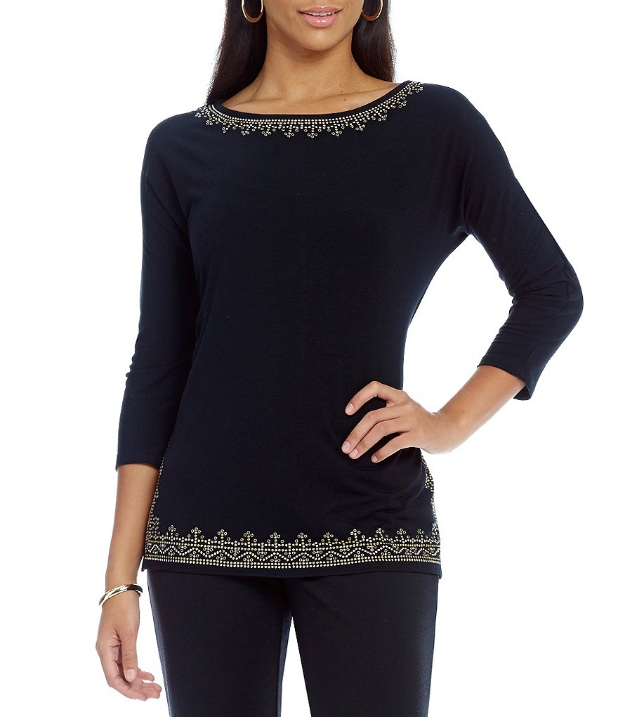 Ruby Rd. Embellished 3/4 Dolman Sleeve Solid Knit Top