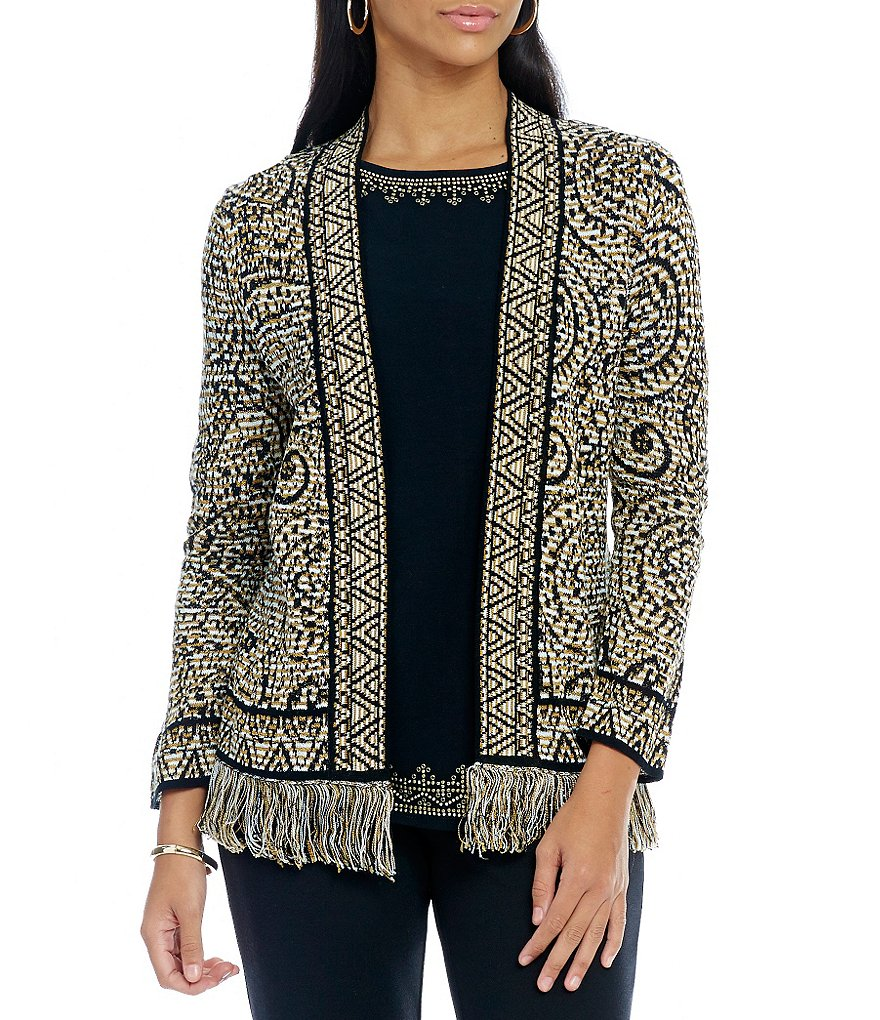 Ruby Rd. Shawl Collar Lace Border Jacquard Sweater Cardigan