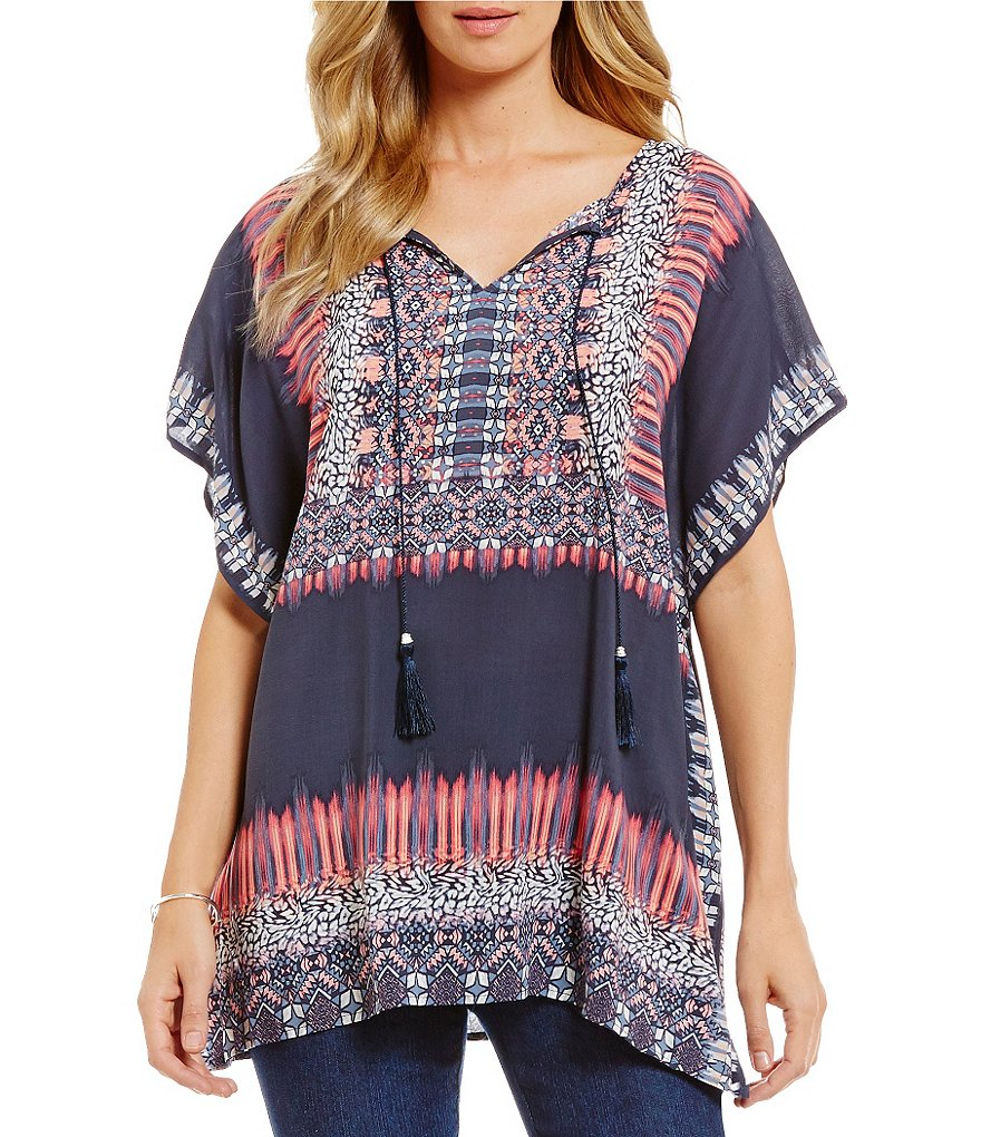 Ruby Rd. Split-Neck Print Featherweight Fuji Box Top