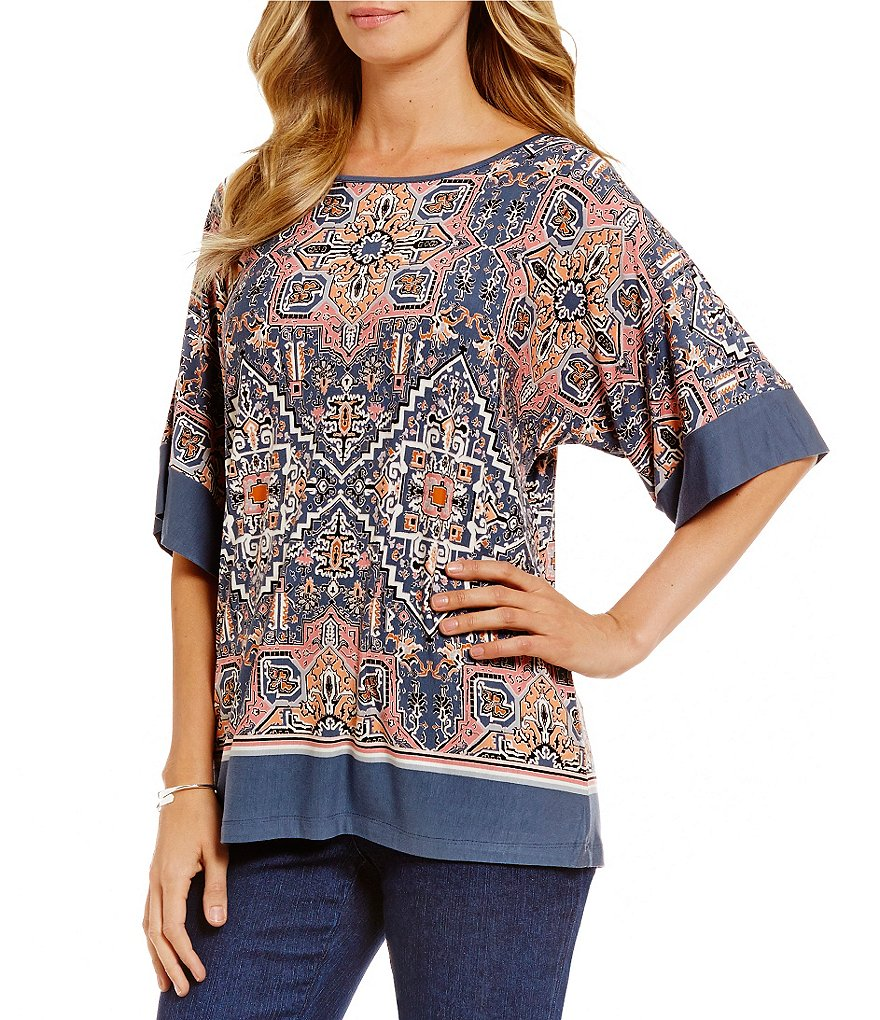 Ruby Rd. Scoop-Neck Dream Weaver Placement Print Knit Top