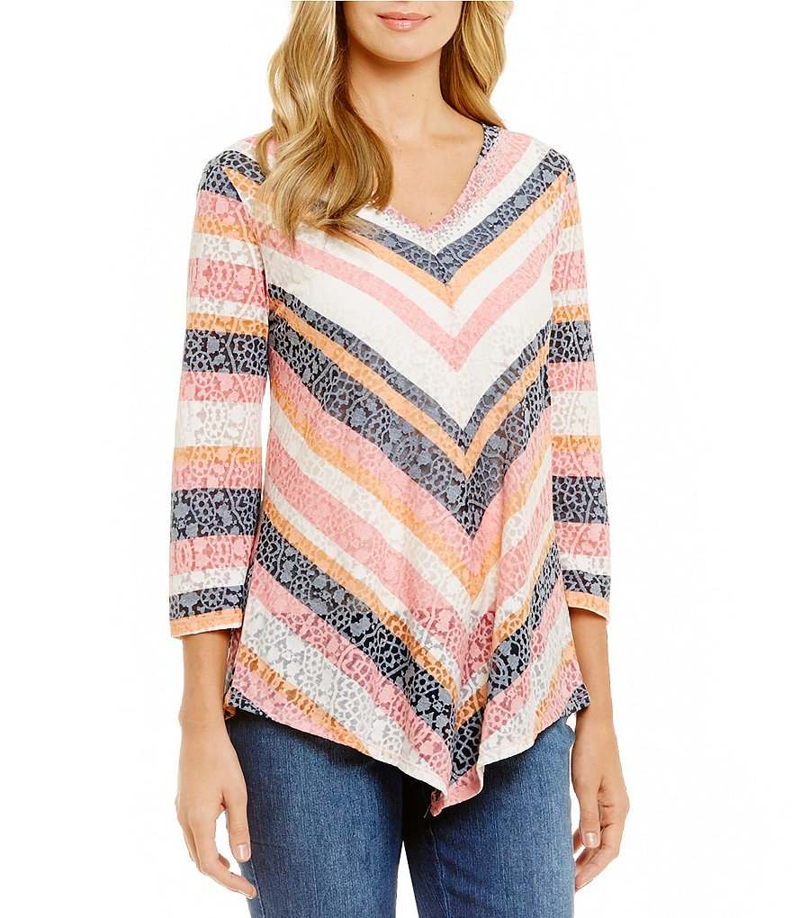 Ruby Rd. Embellished V-Neck Lace Burnout Stripe Print Knit Top