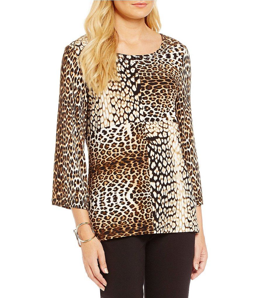 Ruby Rd. Embellished Blocked Leopard Placement Print Knit Top