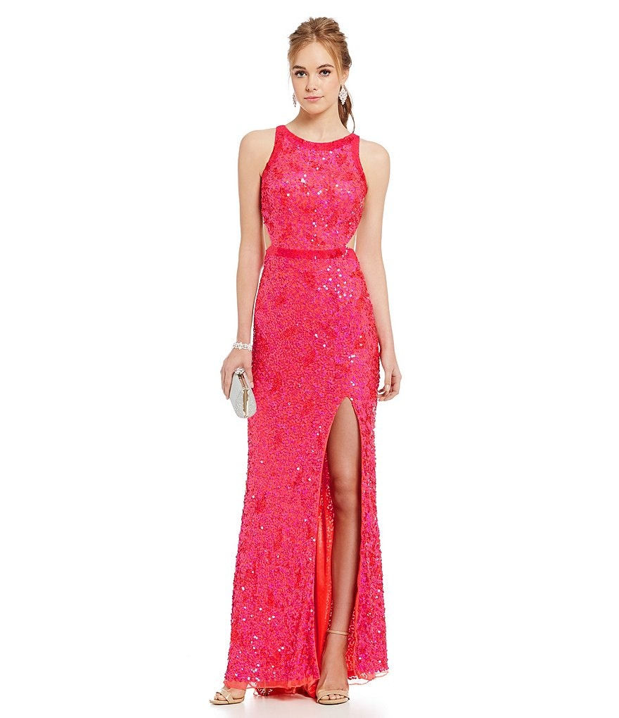 MAC by Mac Duggal Open Back Sequin Beaded Gown