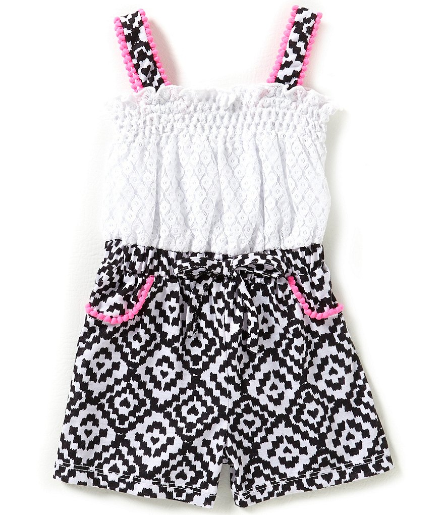 Sweet Heart Rose Little Girls 2T-6X Crocheted/Printed Romper