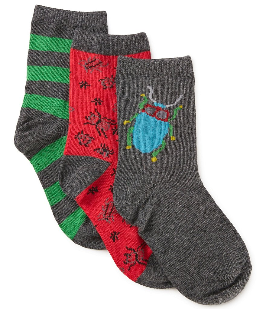 Adventure Wear by Class Club 3-Pack Beetle Print Crew Socks