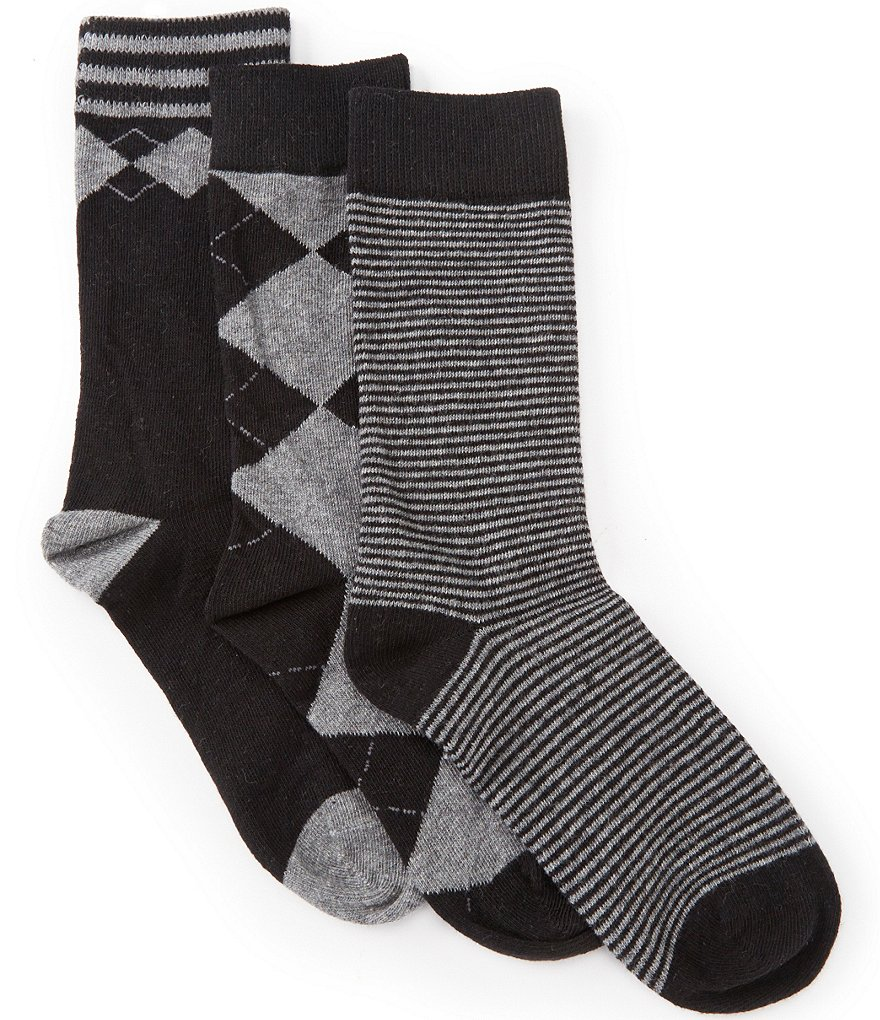 Class Club 3-Pack Crew Pattern Dress Socks