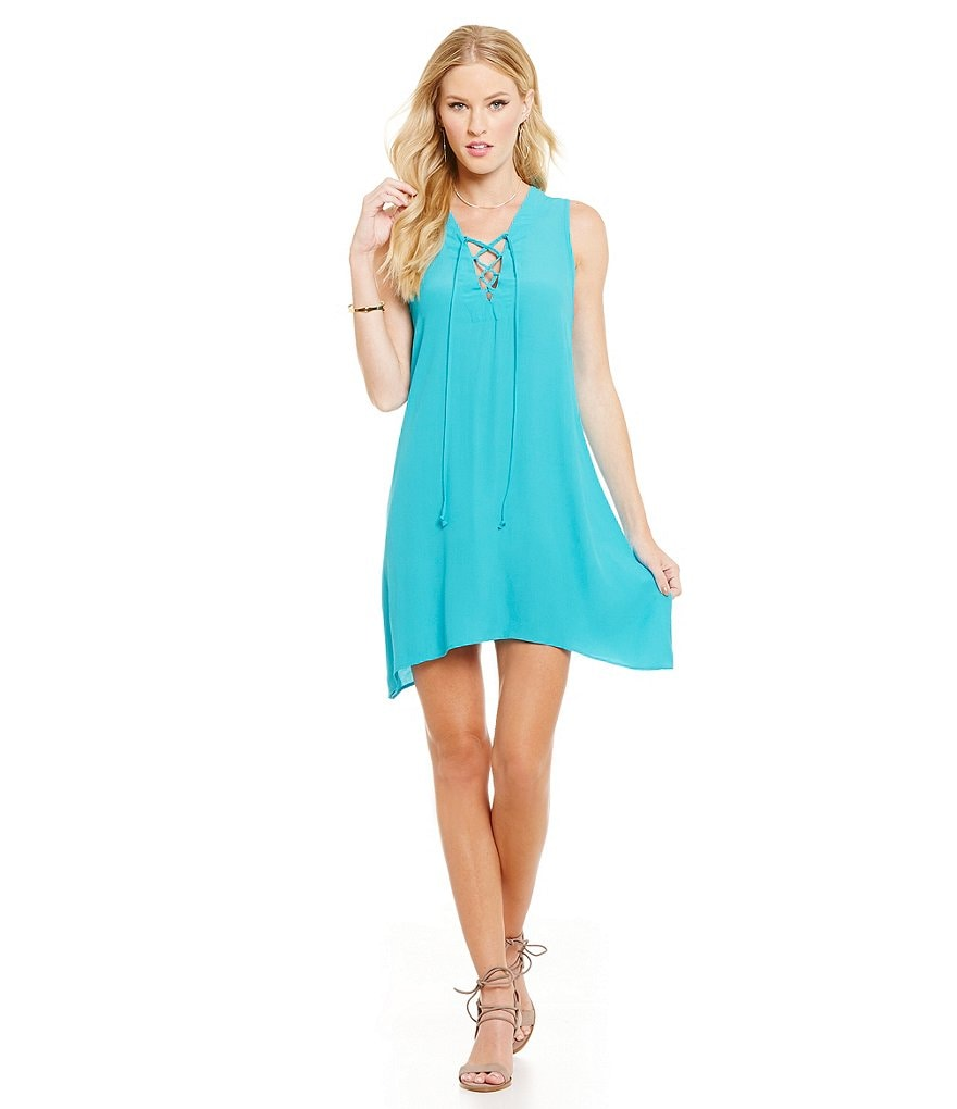 ELAN Lace-Up Crepe A-Line Dress