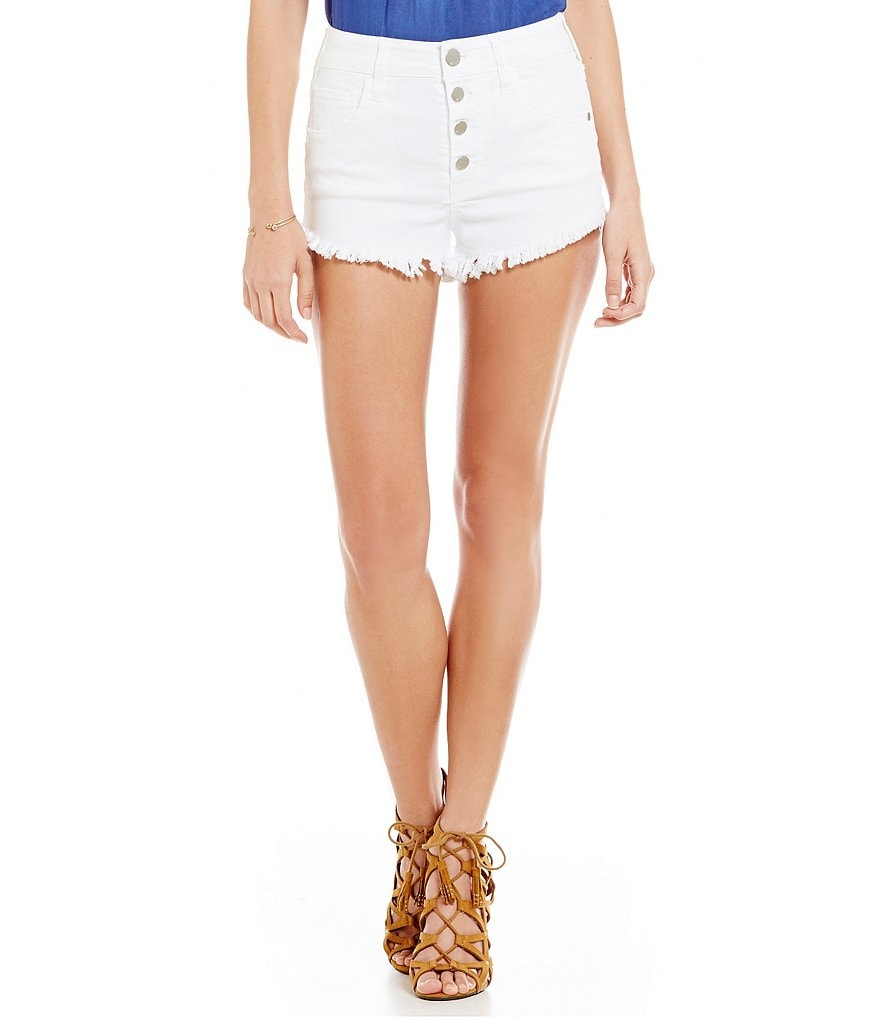 ELAN 4-Button Frayed Jean Shorts