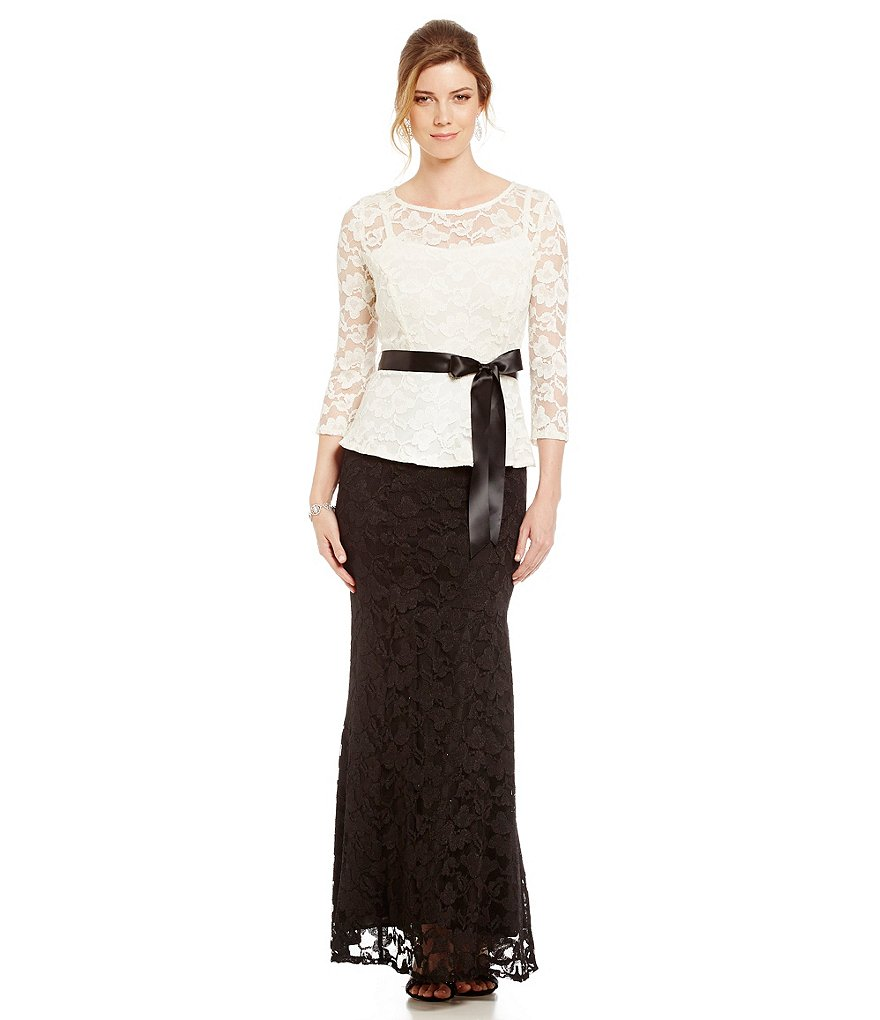 Leslie Fay Two Tone Long Peplum Lace Dress