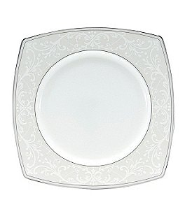 Nikko Pearl Symphony Scroll Bone China Square Salad Plate Image